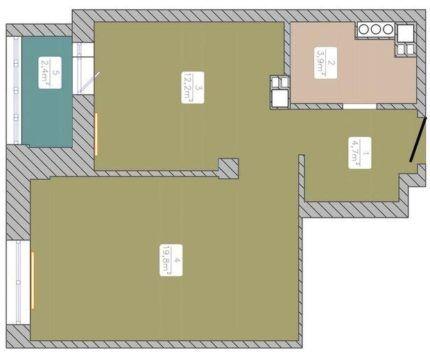 План с кухней и лоджией