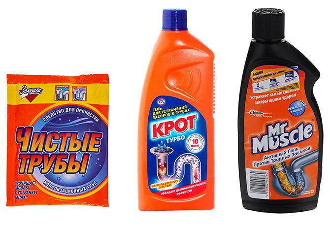 Химические средства для очистки засоров канализации