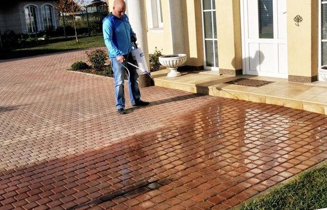 Обработка тротуарной плитки