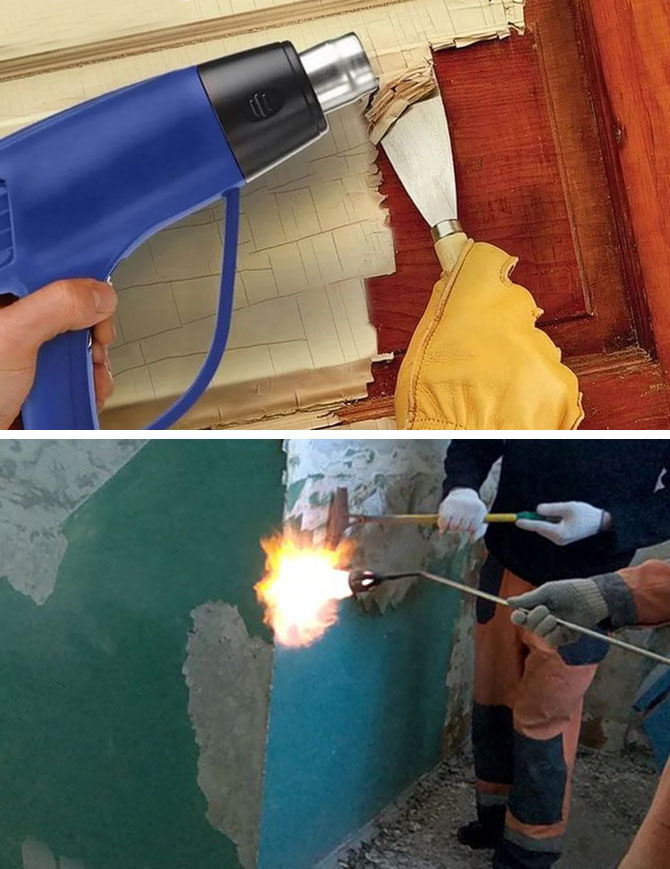 Снятие старой краски строительным феном и паяльной лампой
