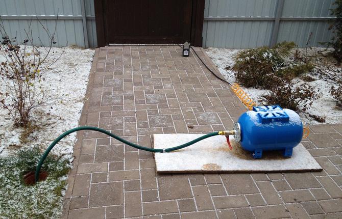 Продувка водопровода компрессором на зиму